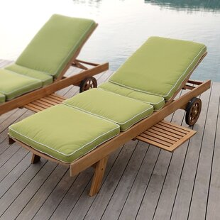 Summerton Reclining Teak Chaise Lounge with Cushion