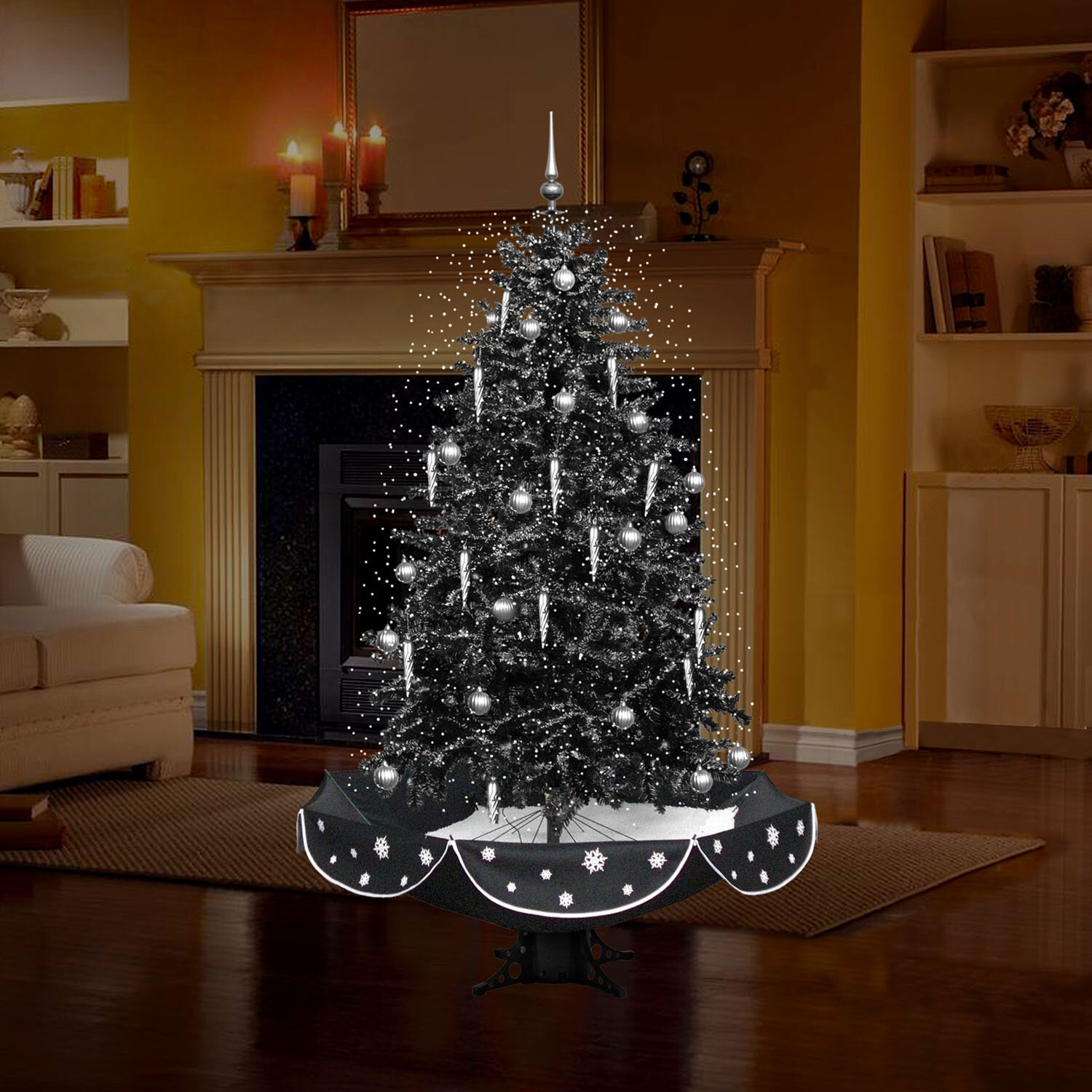 The Holiday Aisle 6 3 Snowing Musical Black Artificial Christmas Tree With 80 Clear White Lights Reviews Wayfair