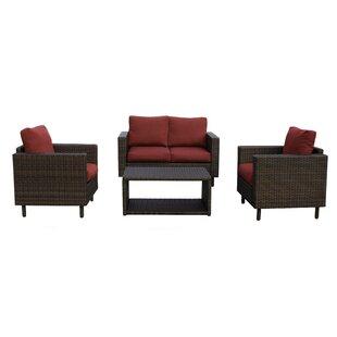 Suwanee 4 Piece Rattan Sofa Seating Group with Cushions