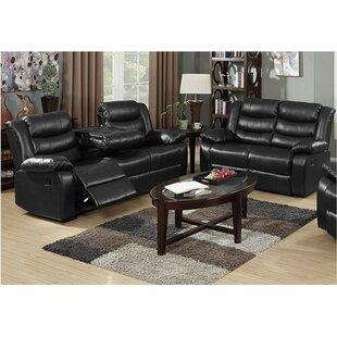 Morais 2 Piece Leather Reclining Living Room Set