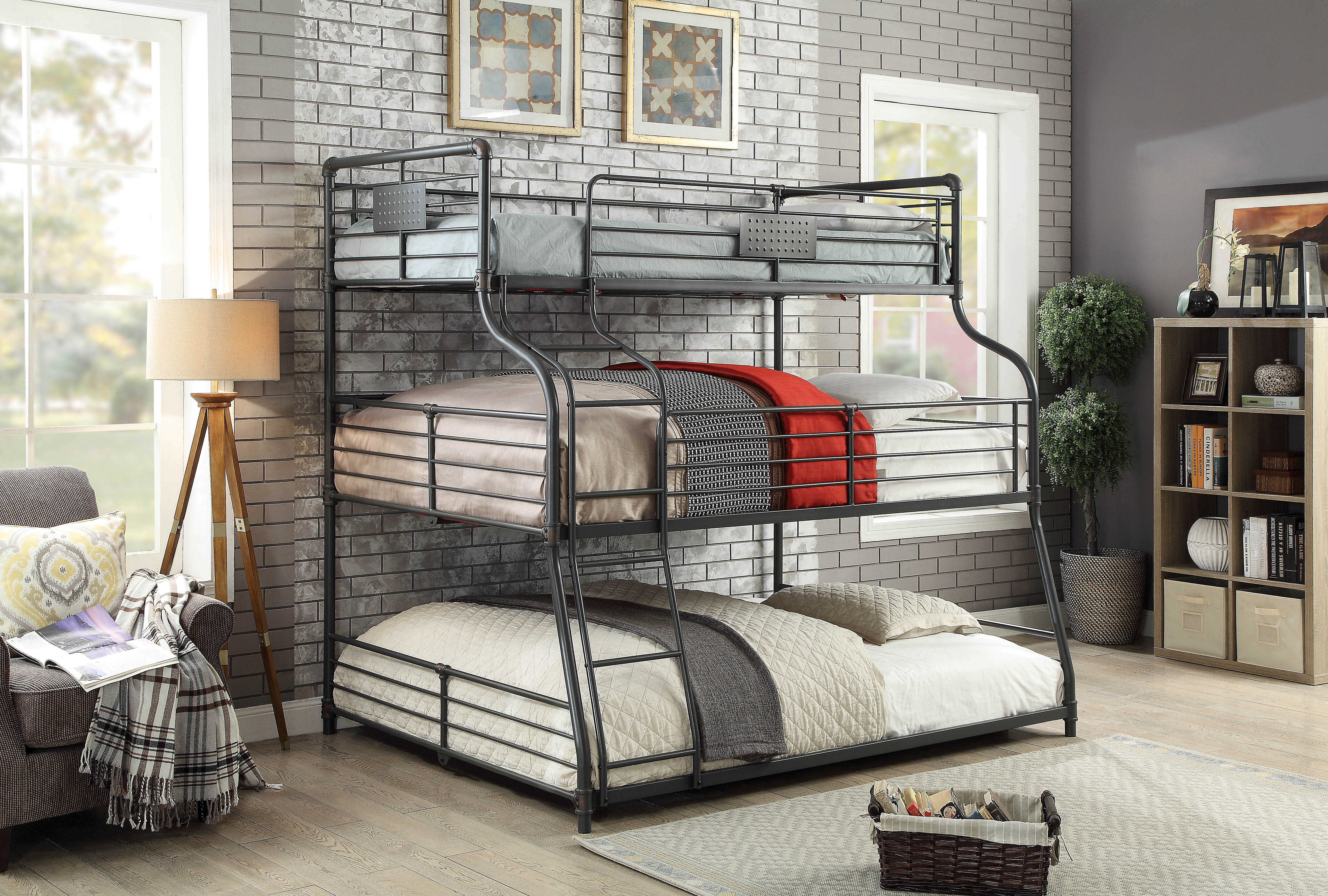 Harriet Bee Prather Twin Over Full Over Queen Triple Bunk Bed