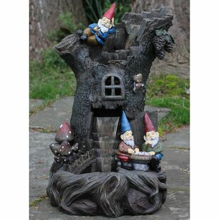 Northlight Seasonal Polystone 3 Tier Gnome Home Tree Stump Outdoor Water Fountain
