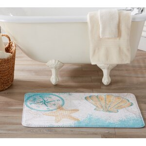 Eliza Plush Memory Foam Anti-Fatigue Coastal Beach Theme Bath Rug