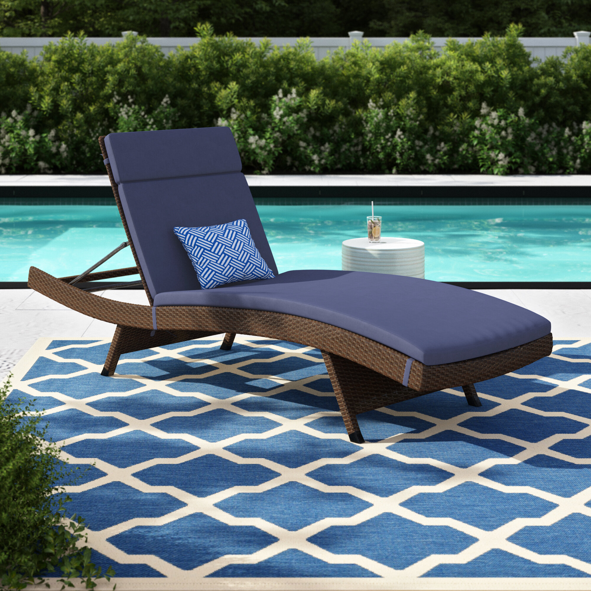 Sol 72 Outdoor Bellview Reclining Chaise Lounge With Cushion Reviews Wayfair