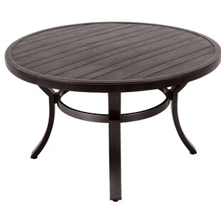 Landover Embossed Wood Grain Slats Metal Dining Table