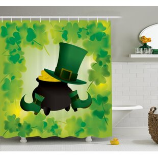 St. Patrick'S Day Leprechaun Hat And Shoes Costume With Pot Of Gold With Shamrock Leaves Single Shower Curtain by The Holiday Aisle Best #1