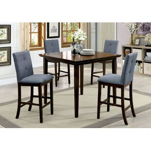 Hann Wooden 5 Piece Counter Height Dining Table Set