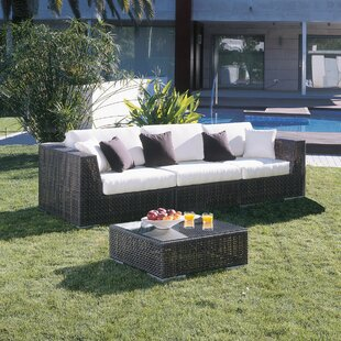 Hospitality Rattan Soho Patio Sofa with Sunbrella Cushions