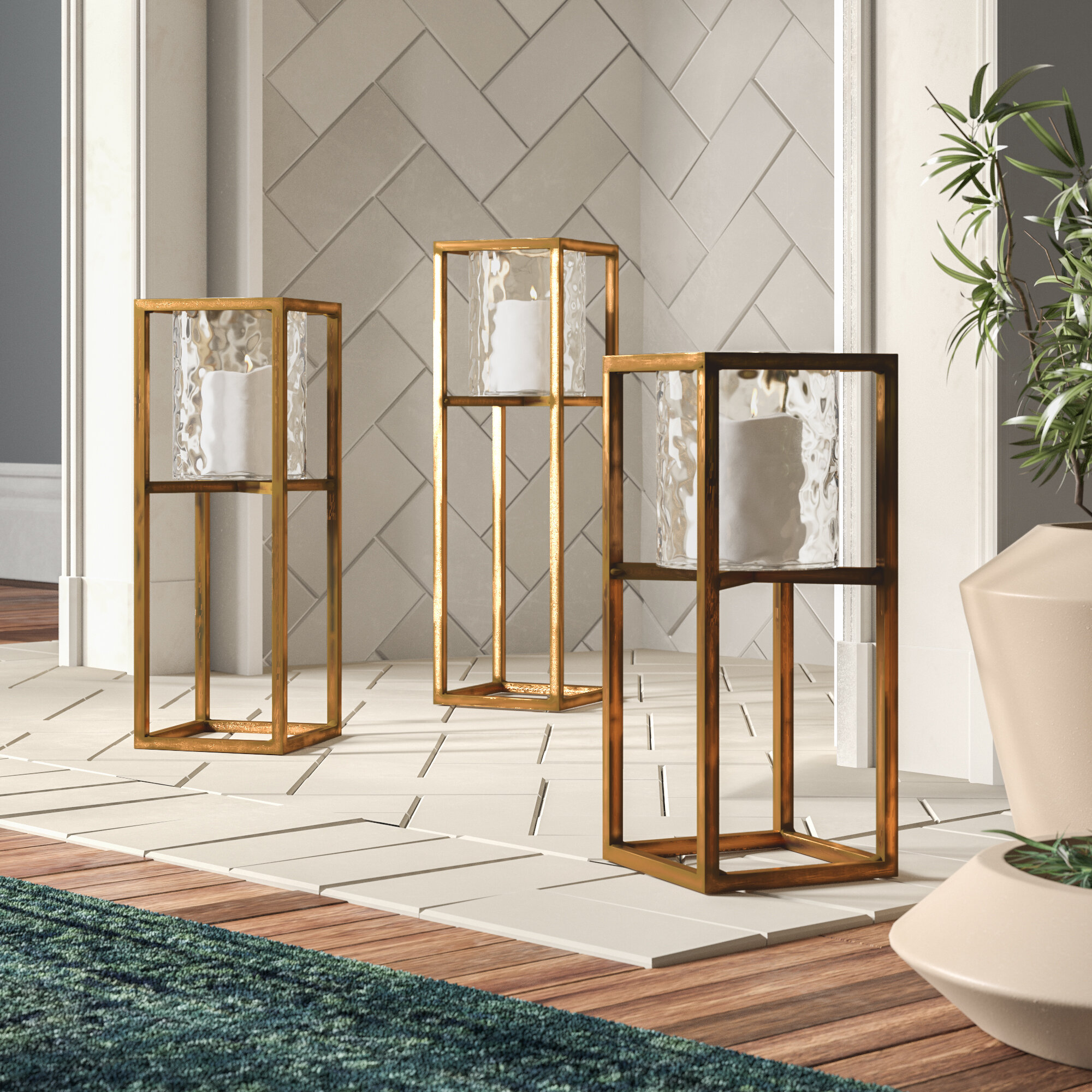 Joss Main 3 Piece Tall Metal And Glass Lantern Set Reviews Wayfair