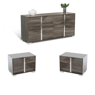 Demaria 6 Drawer Double Dresser and 2 Drawer Nightstands Set