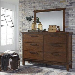 Brayden Studio Hylan 6 Drawer Double Dresser with Mirror