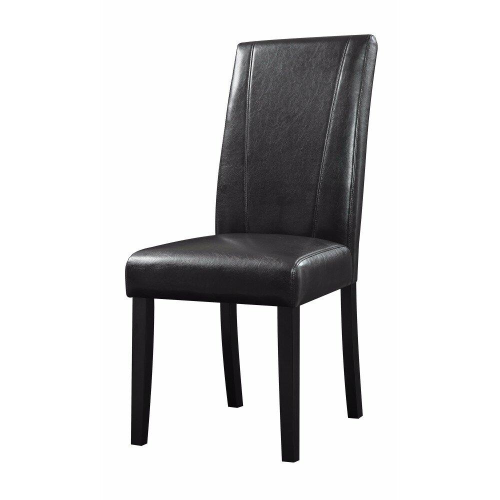 Stupendous Pomonok High Back Parson Genuine Leather Solid Wood Dining Chair Creativecarmelina Interior Chair Design Creativecarmelinacom