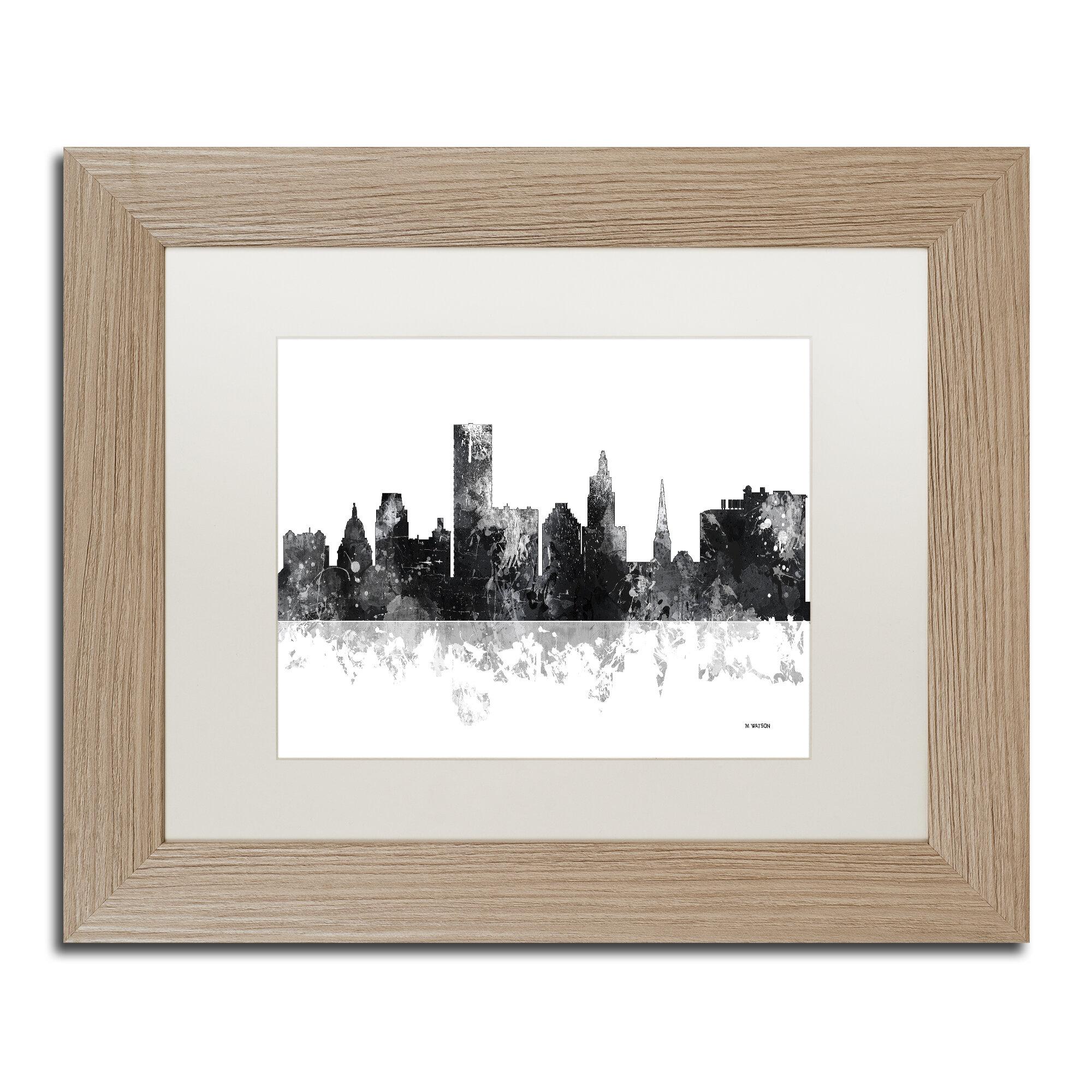 Trademark Art Providence Ri Skyline Bg 1 Framed Graphic Art On Canvas Wayfair