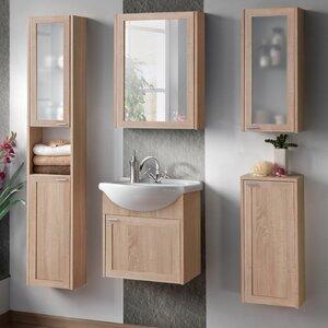 Belfry Bathroom 49 cm Wandmontierter Waschtisch Piano mit Spiegel, Armatur und Schränken