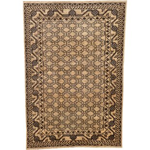 Best Reviews One-of-a-Kind Wareham Hand-Knotted 6' x 8'8 Wool Beige/Black Area Rug By Isabelline