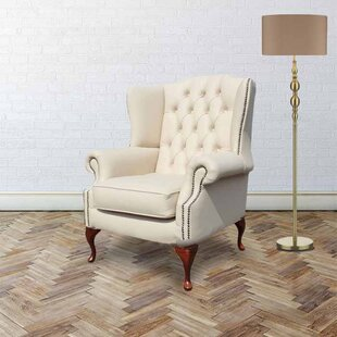 Chilcote Queen Anne Flat Leather Wingback Chair By Rosalind Wheeler