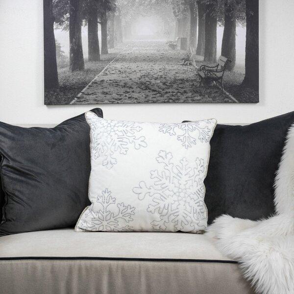 Mercury Row Bourget Holiday Snow Flakes Embroidered Square Velvet Throw Pillow Reviews Wayfair