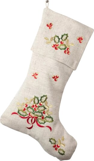 embroidered holly design holiday linen blend christmas stocking - Embroidered Christmas Stocking