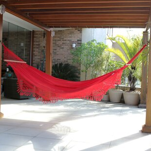 Single Person Fair Trade Comfortable Tropical Rubies' Hand-Woven Brazilian Cotton with Crocheted Trimming Indoor And Outdoor Hammock