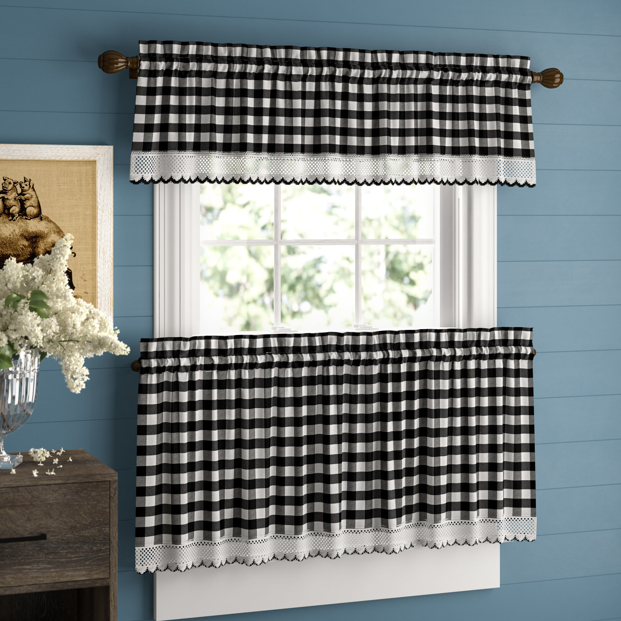 Bellair Country Plaid Complete 3 Piece Tier & Valance Kitchen Curtain