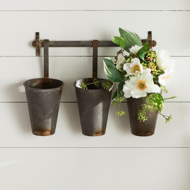 Laurel Foundry Modern Farmhouse Farm Metal Wall Rack And 3 Tin Pot With Hanger Decor Reviews Wayfair