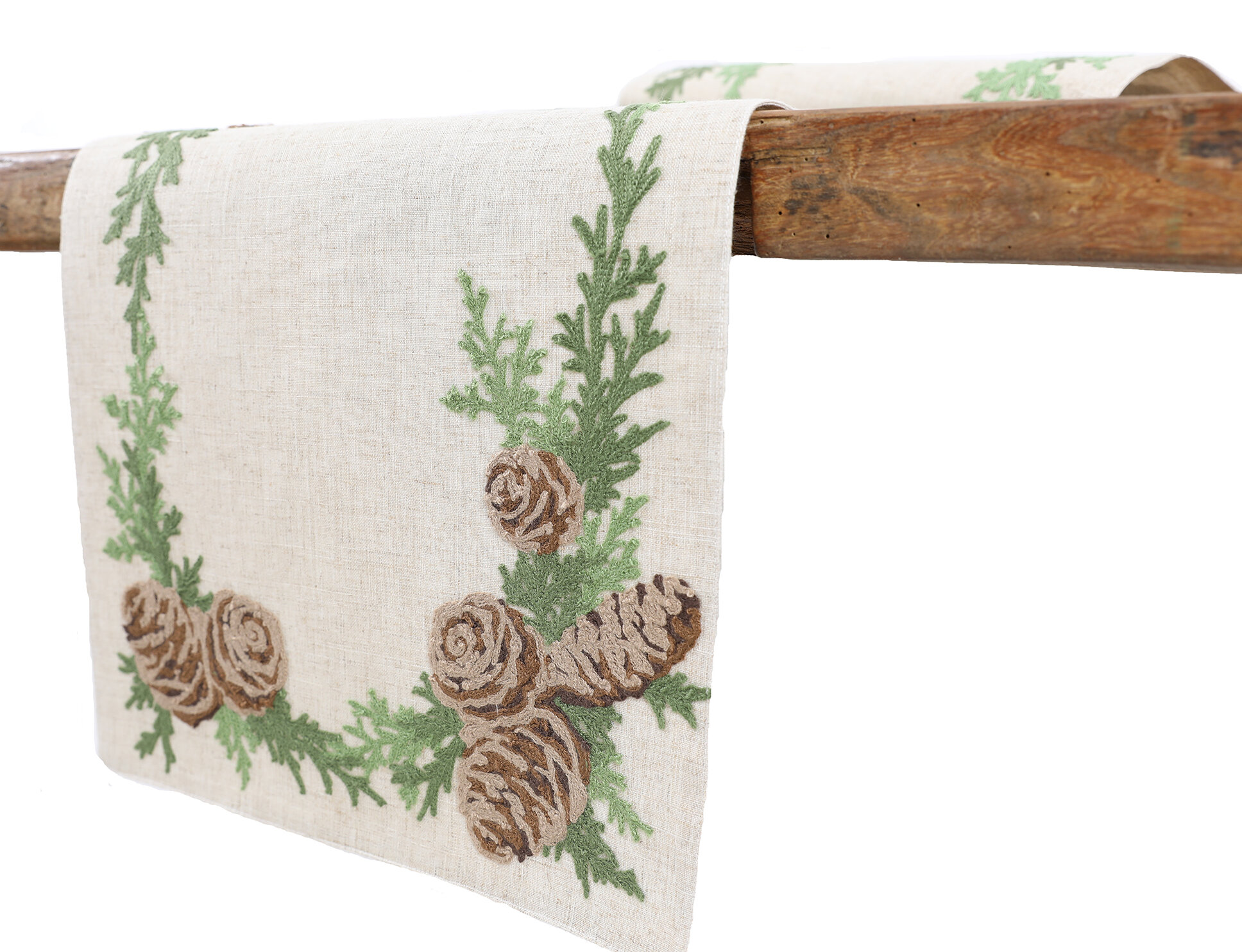 The Holiday Aisle Ishaan Winter Pine Cones And Branches Crewel Embroidered Table Runner Reviews Wayfair
