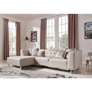 Thalia Left Hand Facing Leatherette and Fabric Modular Sectional