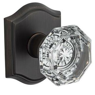 Crystal Privacy Door Knob With Traditional Arch Rose
