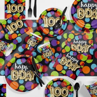 Balloon 100th Birthday Party Paper/Plastic Supplies Kit (Set of 81)