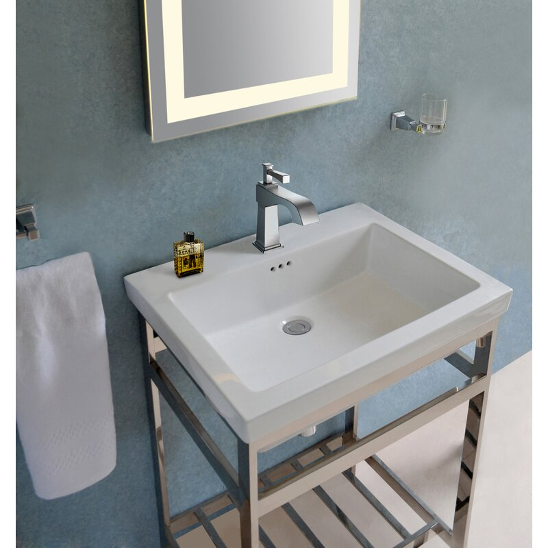 Arverne Stainless Steel Open Console 21 Single Bathroom Vanity Set