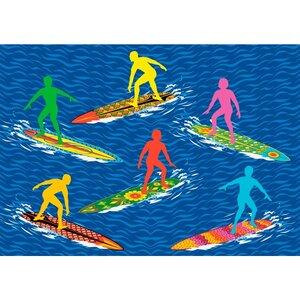 Surf Time Surfs R Us Blue Area Rug