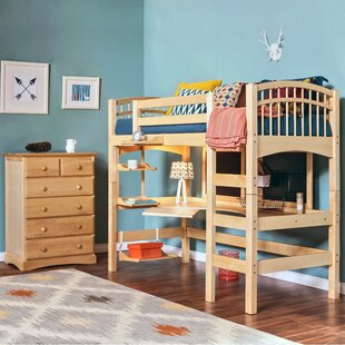 Sandisfield Twin Loft Bed with Shelves