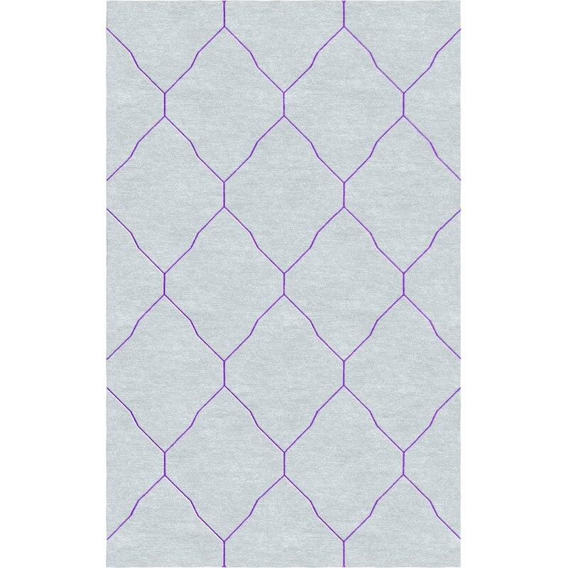 Charlton Home Volk Hand Tufted Wool Light Gray Purple Area Rug Wayfair