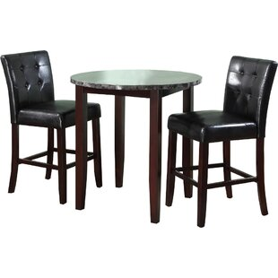 Horologium 3 Piece Counter Height Dining Set Latitude Run