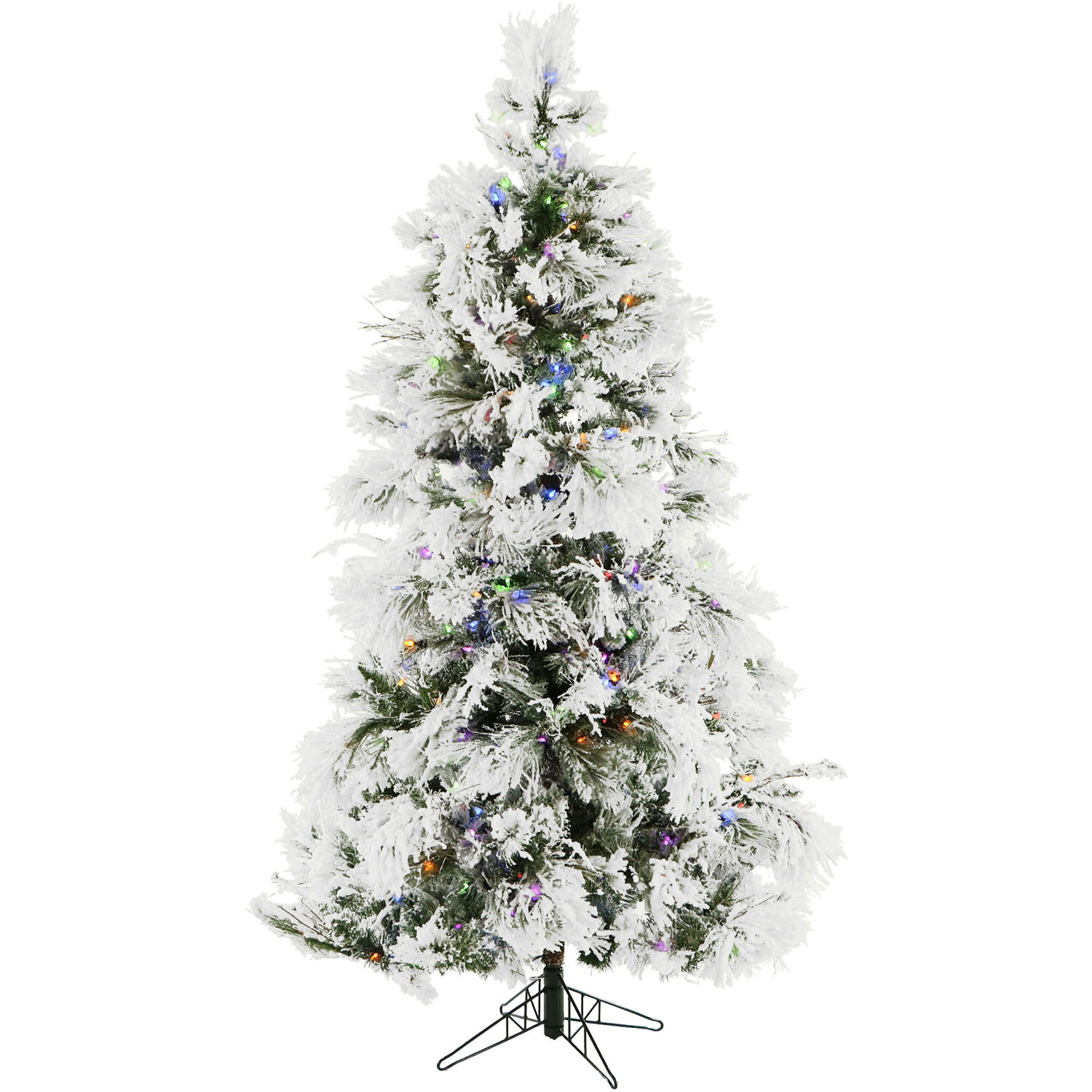 The Holiday Aisle Frosted 6 5 Snow Fir Artificial Christmas Tree With 450 Multi Colored Blue Yellow Lights Wayfair