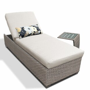 Reclining Chaise Lounge with Cushion and Table by TK Classics