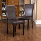 Sewell Upholstered Parsons Chair in Brown (Set of 2) by Winston Porter
