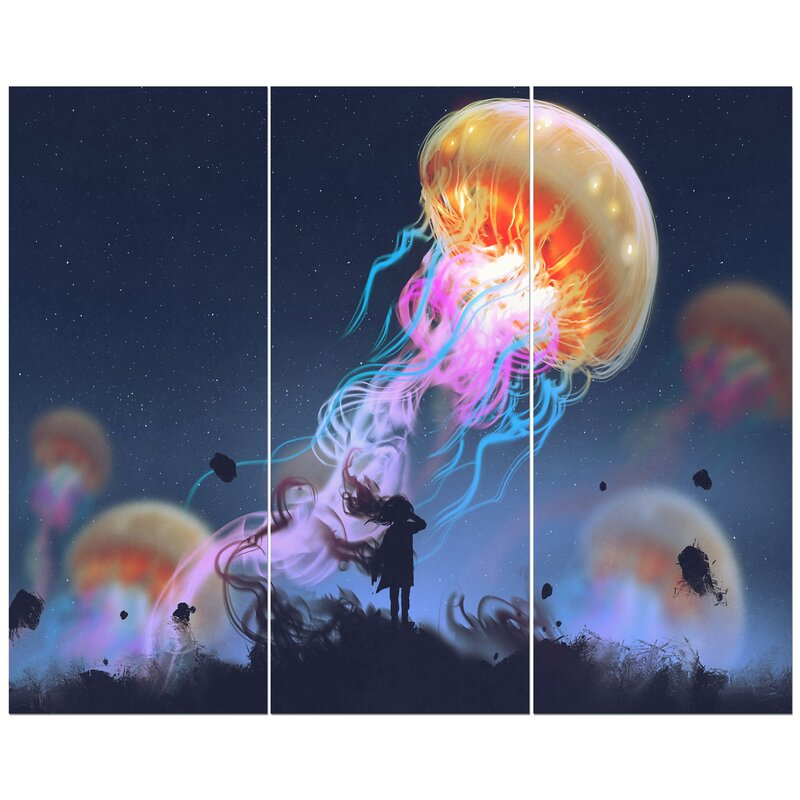 East Urban Home Floating Giant Jelly Fish Oil Painting Print Multi Piece Image On Wrapped Canvas Wayfair