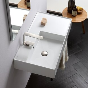Compare prices Teorema Ceramic 32 Wall Mount Bathroom Sink with Overflow ByScarabeo by Nameeks