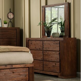 Compare prices Creston 6 Drawer Double Dresser with Mirror by Loon Peak