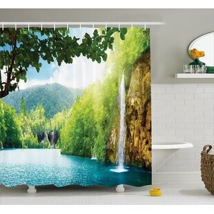 Bargain Landscape Crotian Lake Forest Shower Curtain By East Urban Home