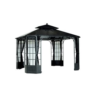 Bay Windows 12 Ft. W x 10 Ft. D Steel Patio Gazebo by Sunjoy