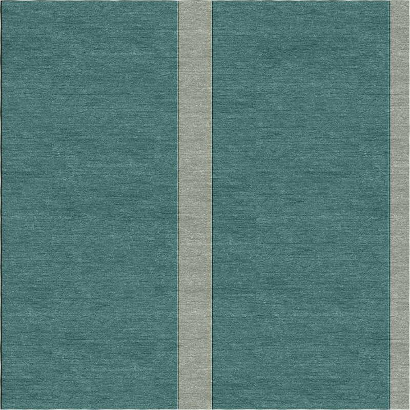 Darby Home Co Stowthewold Stripes Hand Tufted Wool Teal Area Rug Wayfair