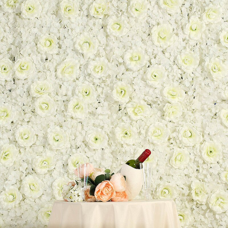Uv Protected 3 D Silk Rose And Hydrangea Flower Wall Mat Panel by Enova Home