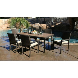 Heffington 7 Piece Wicker Dining Set with Cushion