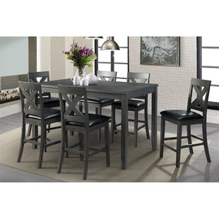 Colne 7 Piece Counter Height Solid Wood Dining Set