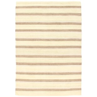 Kilim Paris Hand-Woven Beige and Tortora Area Rug by Loloey