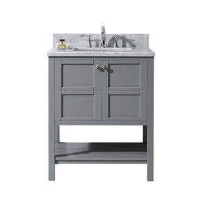 sato 30 single bathroom vanity set with white marble top and mirror - Bathroom Cabinets Sink