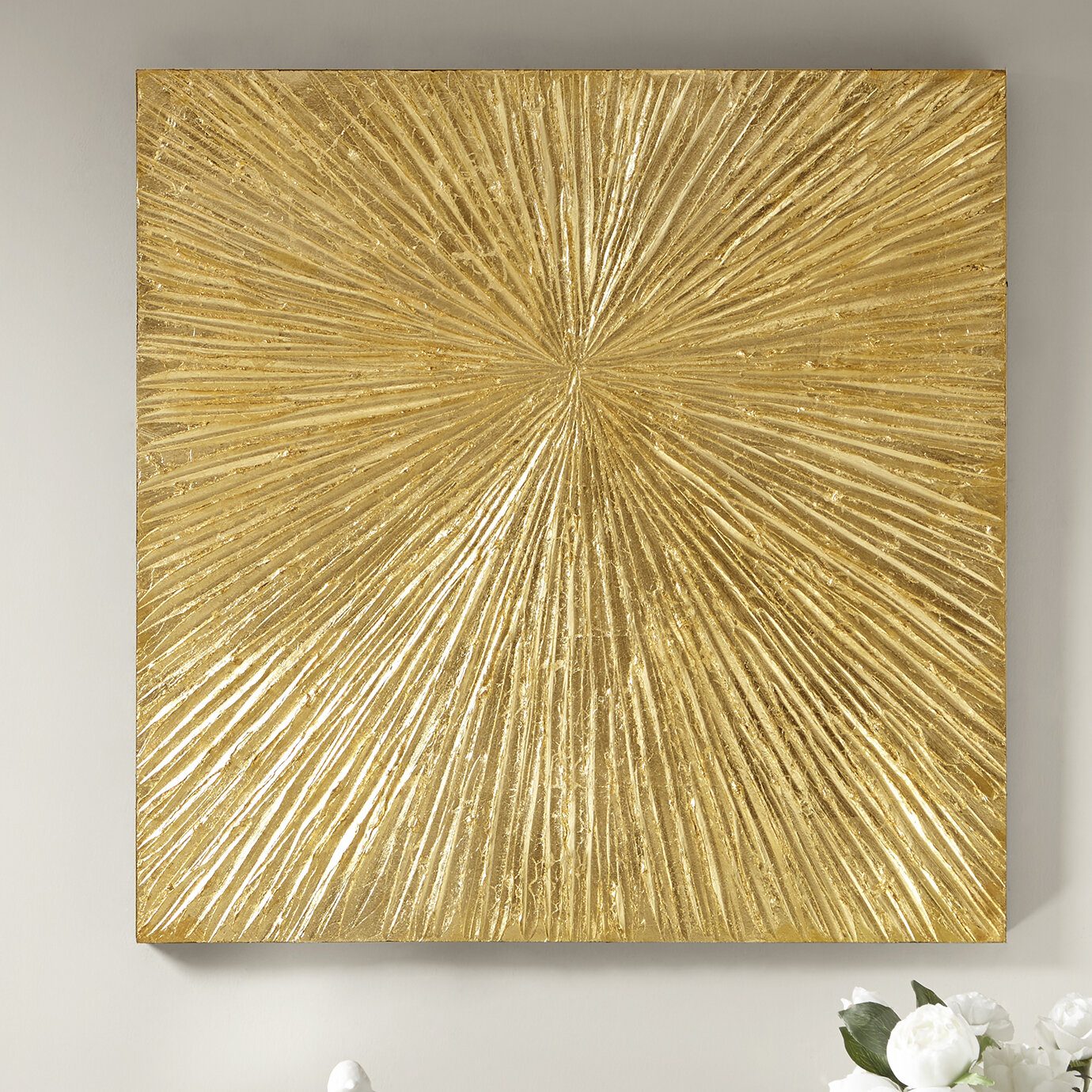 Madison Park Signature Sunburst Resin Dimensional Palm Box Wall ...