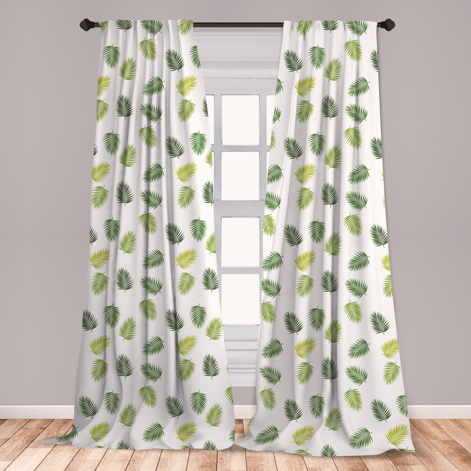 East Urban Home Jungle Leaves Floral Room Darkening Rod Pocket Curtain Panels Wayfair